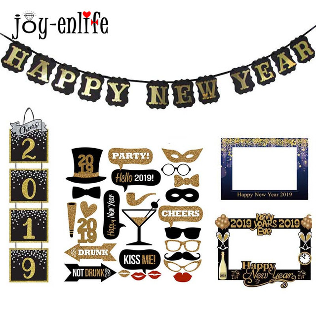 Happy New Year Decoration Banner 2019 Gold Black Photobooth Props
