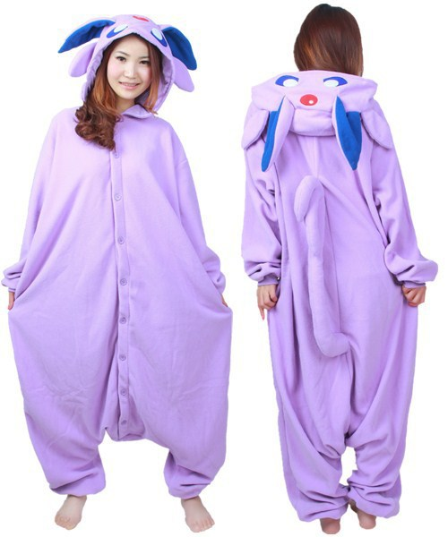 Adult Unisex Winter Warm Polar Fleece Cartoon New Anime Pokemon Master Espeon Cosplay Costume Onesie Jumpsuit Pyjamas Hot Sale
