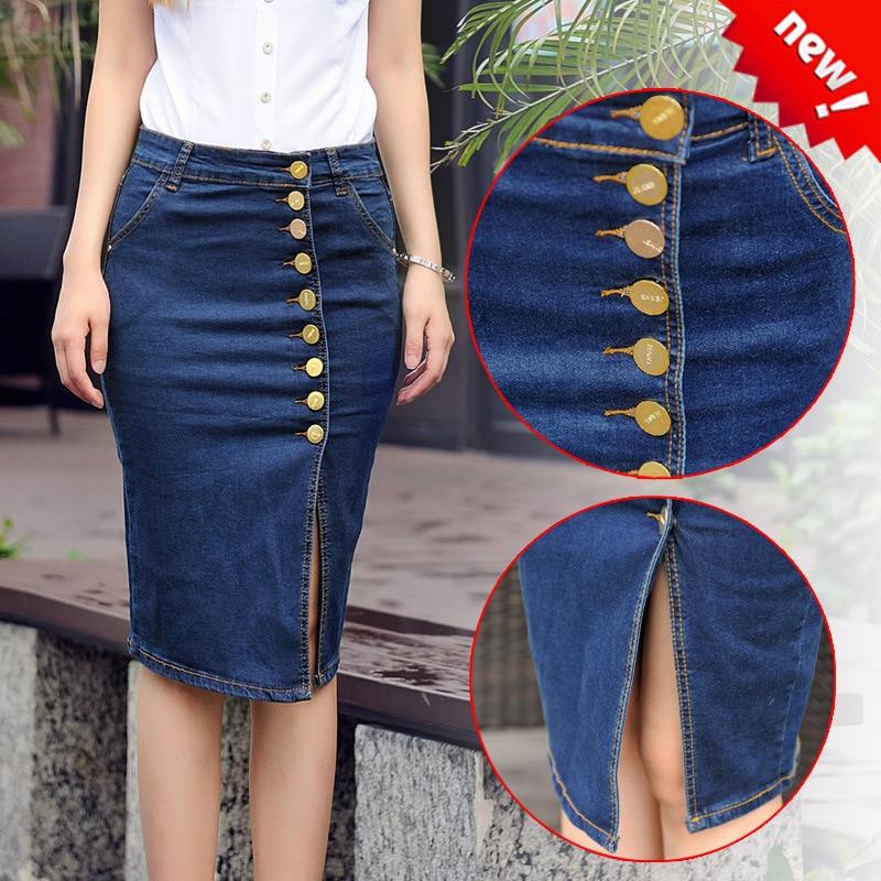 ed89a9819cfc 6XL plus size 2017 autumn Style sexy femininos Long tight button Denim  skirts designs Maxi Jeans female elegant roupa feminina-in Skirts from  Women's ...