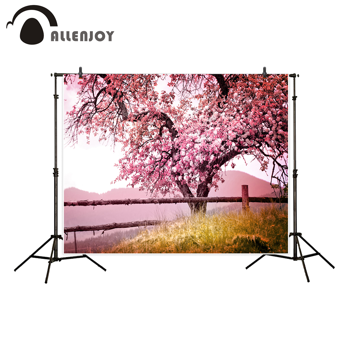 Allenjoy photography background spring pink tree mountain Cherry blossoms backdrop photocall photo studio printed new allenjoy photography backdrop library books student child newborn photo studio photocall background original design