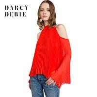 Darcydebie осень модные, пикантные Стиль красный Для женщин Блузки для малышек с плеча Половина Водолазка Flare рукавом шифон женский Топы коррект...