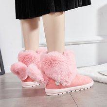 Liren 2019 Flock Plush Fur Lined White Fox Tassels Fashion Women Winter Snow Boots for Shoes Waterproof