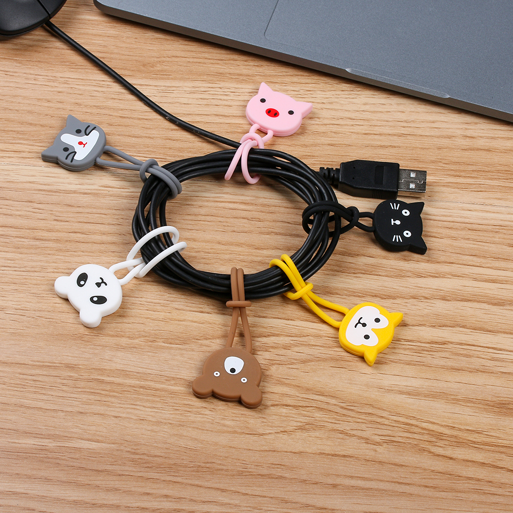 2pc Silicone Cute Cartoon Cable Winder Wire Cord Organizer Holder Earphone Clips