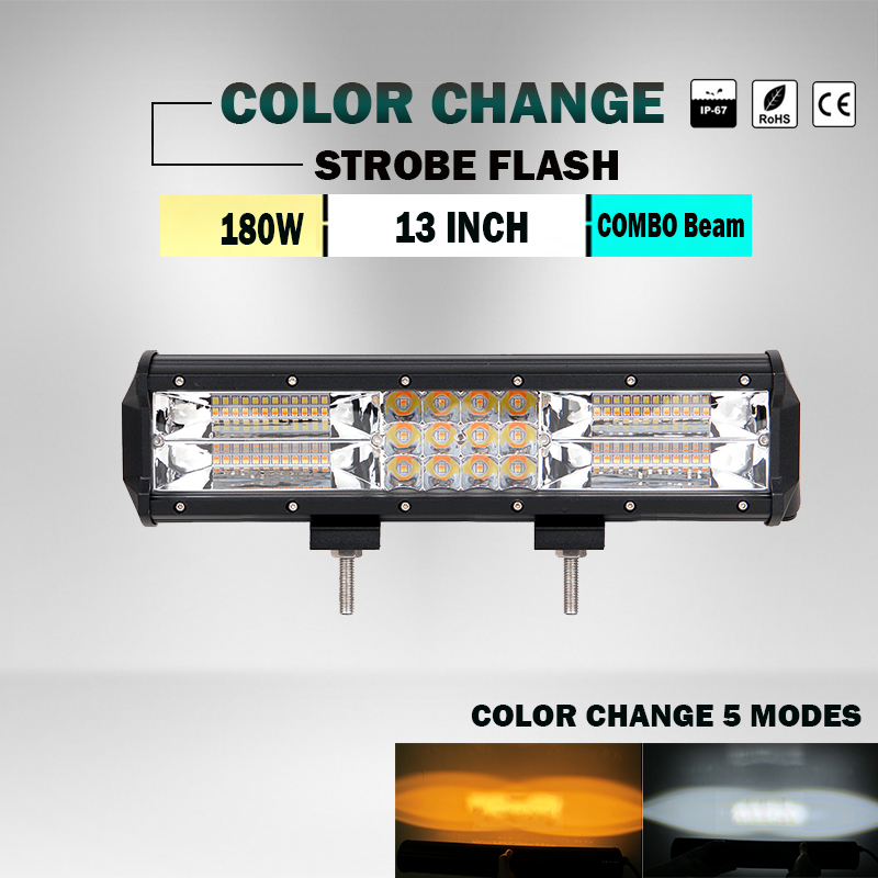 180W 13 inch Straight White Amber / Yellow Led Emergency Warning Traffic Advisor Vehicle 12v 24v Strobe LED Light Bar