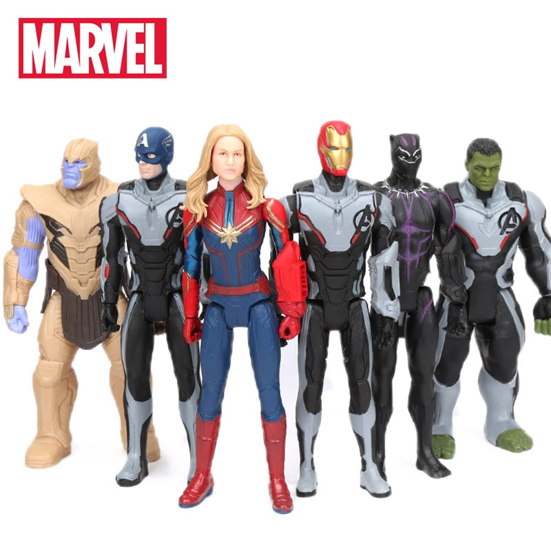 30cm Marvel Toys Avengers 4 Endgame Spiderman Thanos Hulk PVC Action Figure Ironman Captain America Black Panther Model Figurine(China)