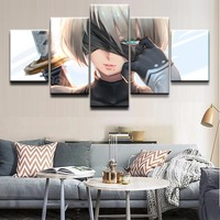 Canvas Paintings Living Room Bedroom Framework Wall Art 5 Pieces NieR Automata YoRHa No.2 Type B HD Print Poster Home Decor