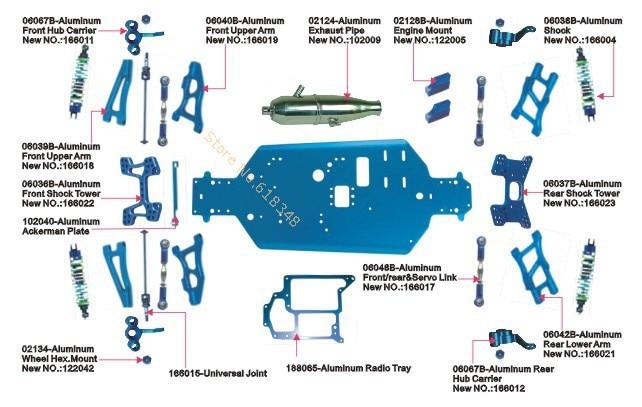 HSP Racing Aluminum Alloy Upgrade Parts Upgrades Spare Parts ...