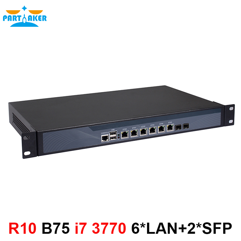 Partaker R10 <font><b>Core</b></font> <font><b>i7</b></font> <font><b>3770</b></font> pfSense hardware firewall 1U rack network server with 6*Intel 1000M LAN 2* SFP image