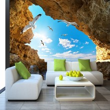 Custom Photo Wallpaper Murals 3D Blue Sky White Clouds Seagulls Cave Landscape Mural living room bedroom WallPaper