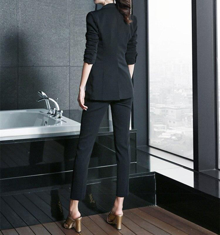 D'affaires Uniforme Vêtements Bureau Femelle Pantalon Style De Haute Femmes Formelle Costumes Set Costume Noir 2 Pièces Qualité Élégant blanc Dames Travail CF76Cw