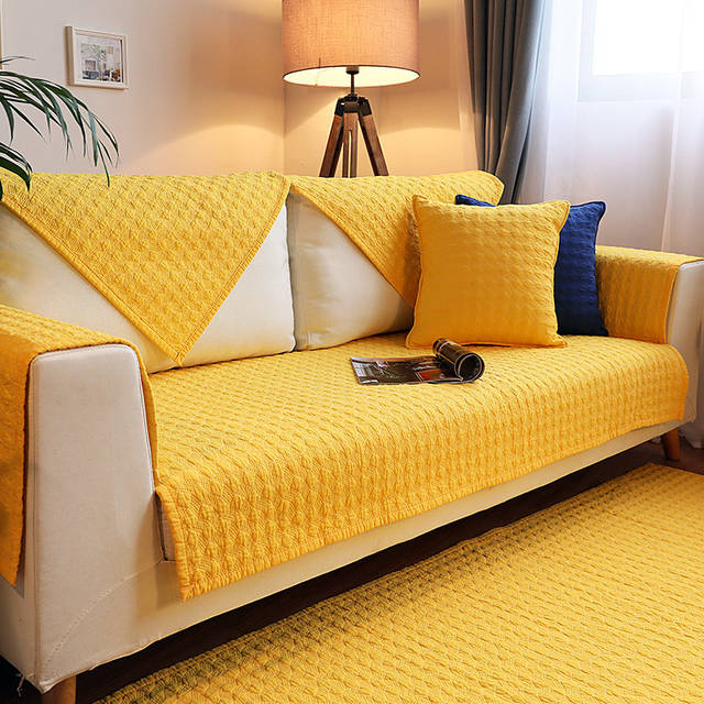 US $10.67 16% OFF|All cotton Quilting Sofa Cover Modern Yellow Blue Couch  Cover For Living Room Sofa Seat Cushion Backrest Cover Couch Towel 1 Pcs-in  ...