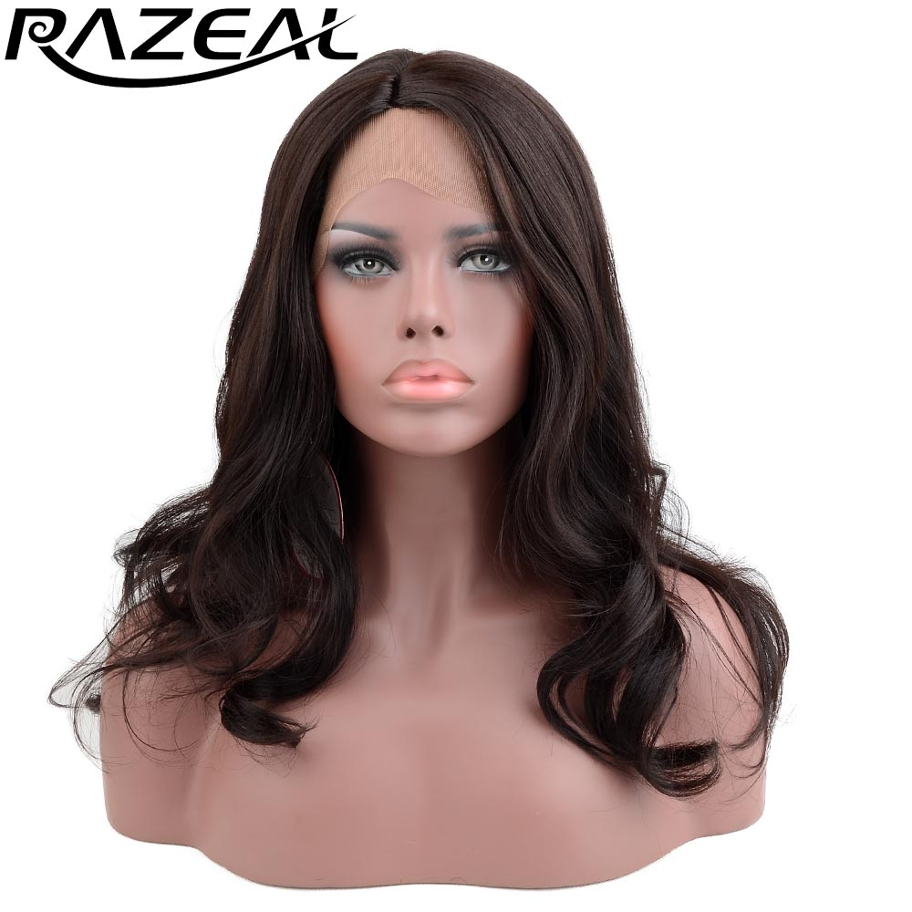 Razeal 20inch 185G Side Parting Long Wavy Lace Front Wigs Synthetic Hair Heat Resistant  ...
