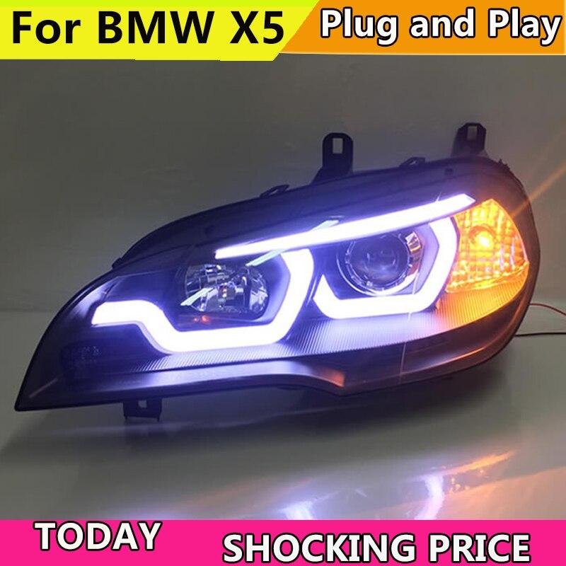 Car Styling for BMW X5 e70 2007 2013 Headlight for BMW X5 Head Lamp Auto LED DRL Double Beam H7 HID Xenon bi xenon lens