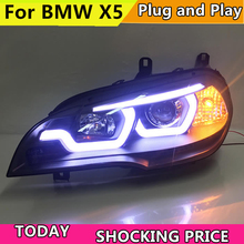 doxa Car Styling for BMW X5 e70 2007-2013 Headlight for BMW X5 Head Lamp Auto LED DRL Double Beam H7 HID Xenon bi xenon lens цена в Москве и Питере