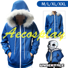Game Sans Undertale Cosplay Costume Long Sleeve B.lue Thick Hoodies Sweatshirt Jacket Coat For Woman Man