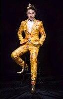 Новый Китайский стиль Высокое качество Вышивка Одежды Костюм костюм набор Nightclube Мужской DJ певица танцор этап производительности одежда