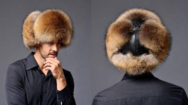 Online Shop MEN S TRAPPER FOX RACCOON FUR HAT REAL LEATHER Ushanka ... 4f56b60341b5