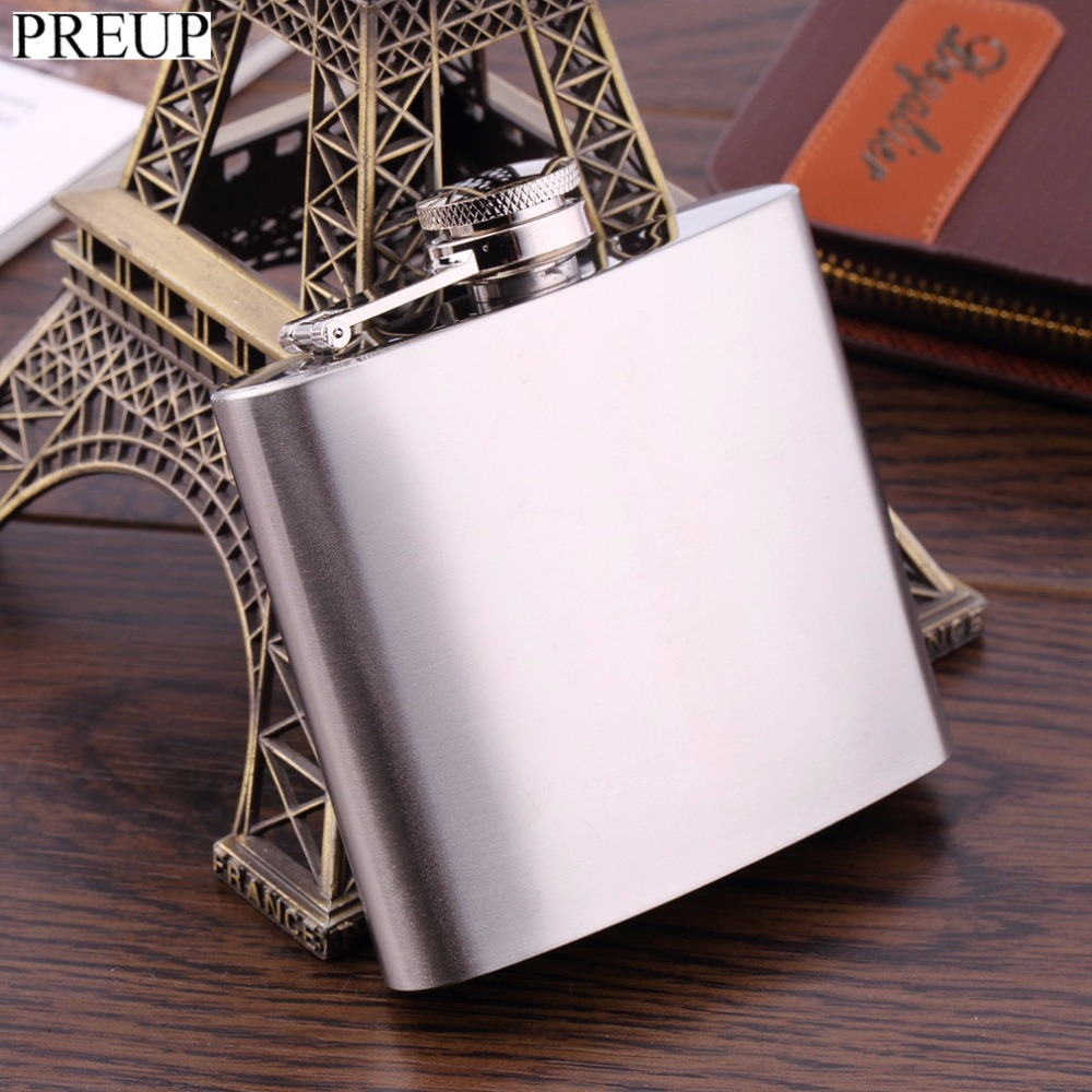 PREUP 5 oz Mirror Polished Stainless Steel Portable Liquor Wine Hip Flask Whisky Alcohol Cap Funnel Drinkware