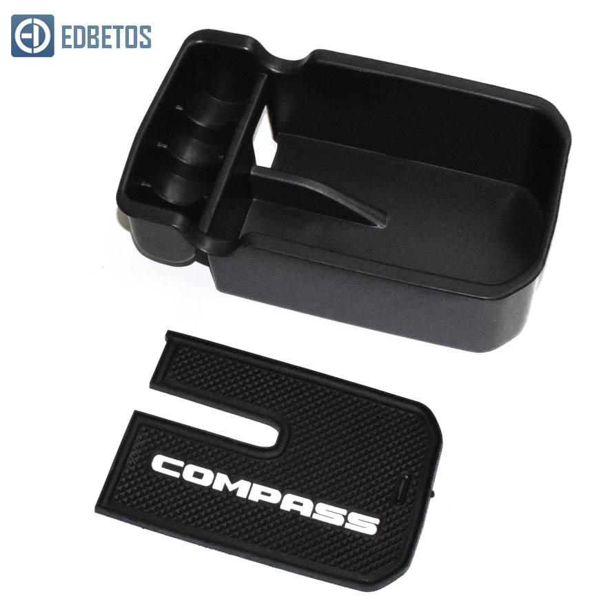 New Compass Armrest Storage Box for Jeep Compass 2017 2018 2019 Center Console Organizer Tray Compass Glove Box Coin Holder(China)