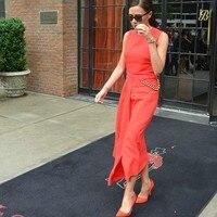 New In 2015 Women S Midi Peplum Chain Novelty Dress Victoria Beckham Dress Free Shipping
