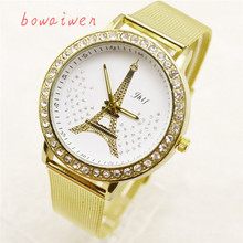 Bowaiwen 1035 Luxury Design Women Watches Ladies Crystal Tower Gold Stainless Steel Mesh Band Wrist Watch