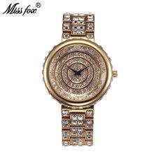 Miss Fox 39mm Luxury Watches Women Top Brand Diamond Women Quartz Watches Stainless Steel Japan Movement Female Bayan Kol Saati