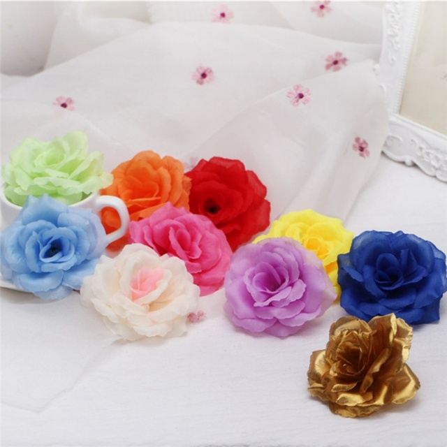 5pcs Lot 8cm Silk Rose Artificial Flower Wedding Home Furnishings