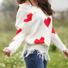 Autumn Winter Sexy V-neck Knitted Sweaters Women Loose Tassel Patchwork Pullover Clothes