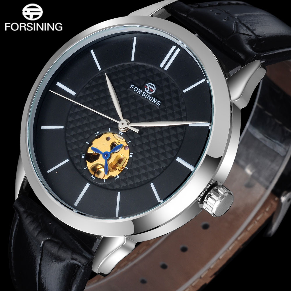 2017 FORSINING popular brand fashion automatic self wind watch skeleton black dial transparent back case genuine leather band 2017 winner famous brand men fashion automatic self wind watches white dial transparent glass silver case stainless steel band