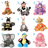 Christmas Halloween Infant Baby Jumpsuit Animal Cosplay Costume Dressing Clothes For Baby Girl Boy H9