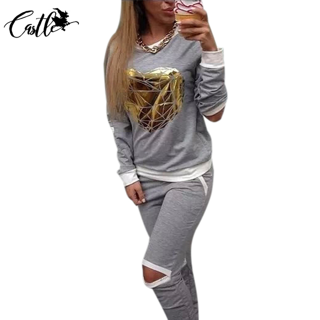 2017 Fashion Hot Gold Heart Hollow Out Lady Tracksuit Women Hoodies Sweatshirt +Pant Costumes Track suit 2 Piece Set Size S-XL