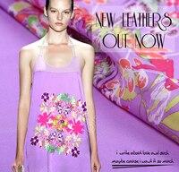 2016 מיהרו טול רולס בד טלאי טלאי צבע סגול בד הדפסת משי שרוף תחתון רחב בד דק שמלת הקיץ