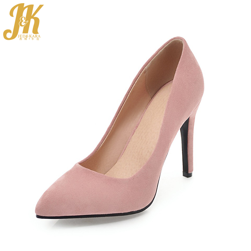JK High Heels Flock Women Pumps Thin Heels Pointed Toe Shallow Slip On Footwear 2018 Brand Spring Fashion Wedding Ladies Shoes brand shoes woman spring summer rainbow women pumps high heels fashion sexy slip on pointed toe thin heel party wedding shoes