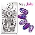 Nee Jolie Plantilla del Sello Del Arte Del Océano Chica Diseño NJX-003 Rectángulo 12*6 cm Placa de la Imagen