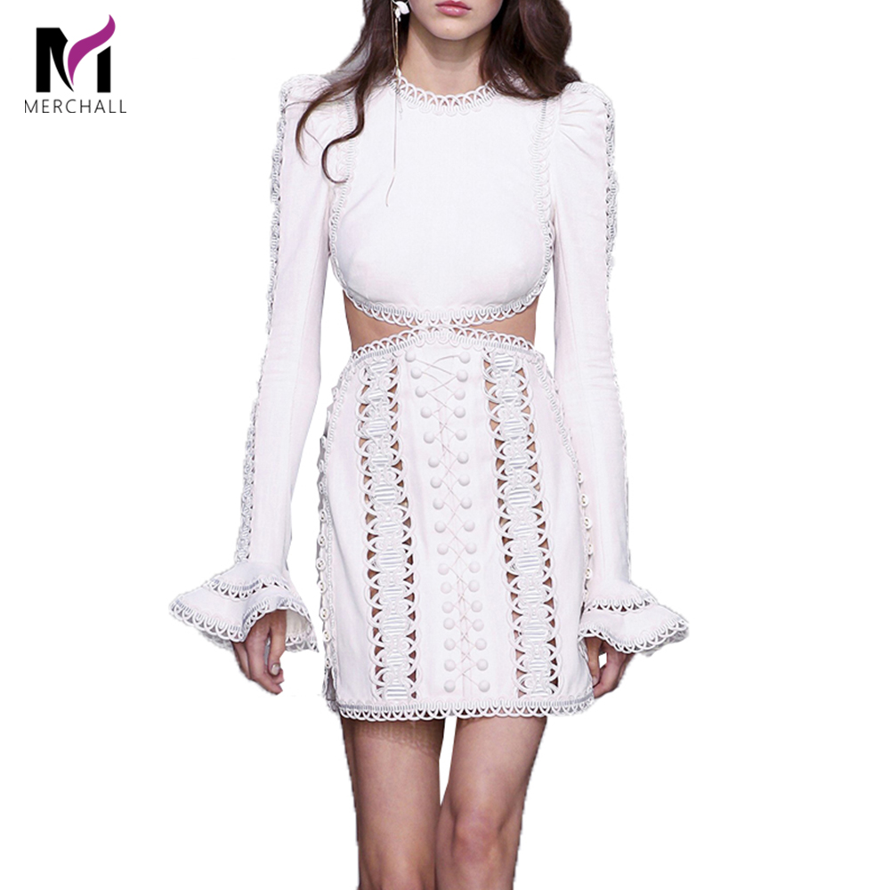 Runway Spring Women Dress 2019 Designer Hollow Out Embroidery Long Sleeve Lady O Neck Flare Sleeve Party Dress