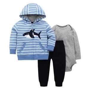 Image 1 - Bébé garçon fille tenue coton rayure requin manteau à capuche + manches longues barboteuse + pantalon automne hiver nouveau né vêtements ensemble nouveau né costume