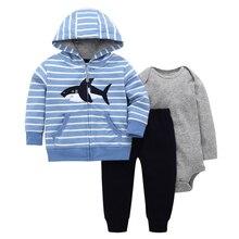 Erkek bebek kız kıyafet pamuk şerit köpekbalığı kapüşonlu ceket + uzun kollu romper + pantolon sonbahar kış yenidoğan giyim seti yeni doğan takım elbise