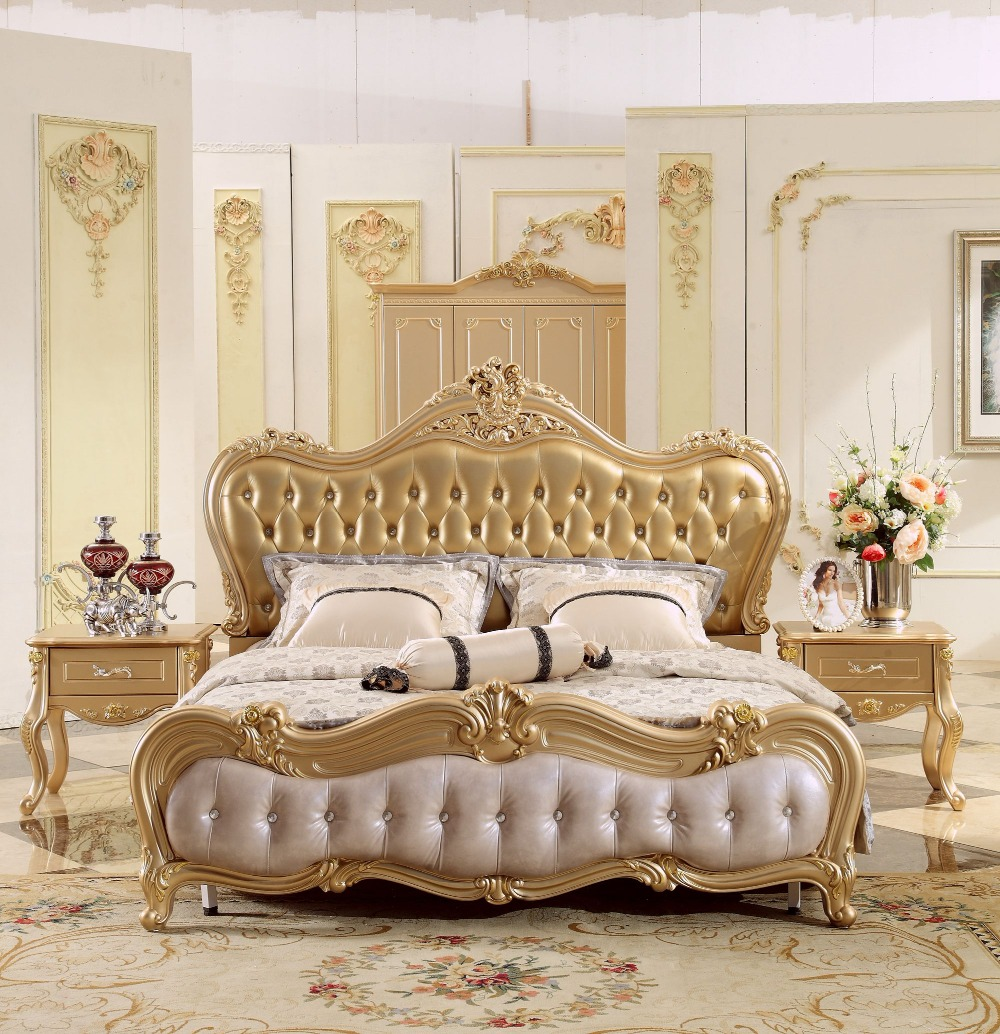 New Design Champagne Golden Carving King Size Leather Bed