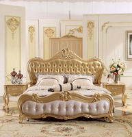 New Design Champagne Golden Carving King Size Leather Bed, Royal European Style Soft Bed Master Bedroom Solid Wood Bed MB A013