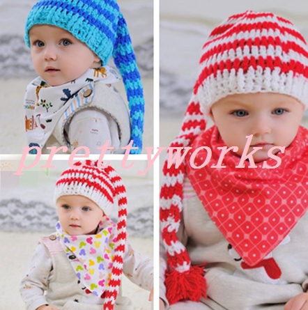 c0033216da1 Free shipping New infant kid child boy girl unisex cotton warm thick red  blue striped winter baby cute hat Christmas gift h-0116