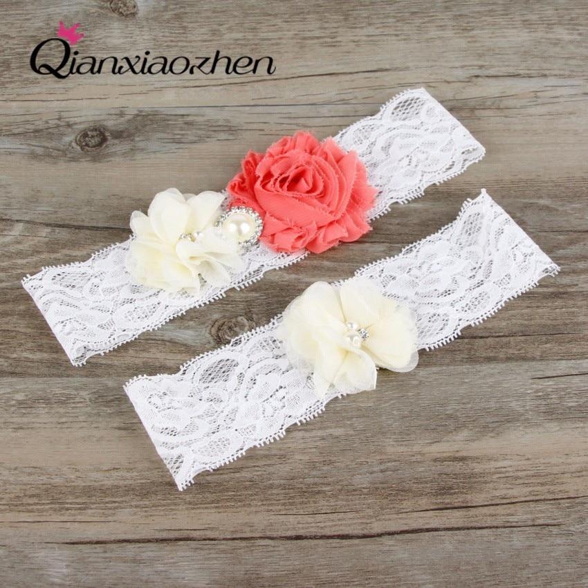 White Wedding Garter: Qianxiaozhen 2pcs/Set Lace Leg Watermelon And White