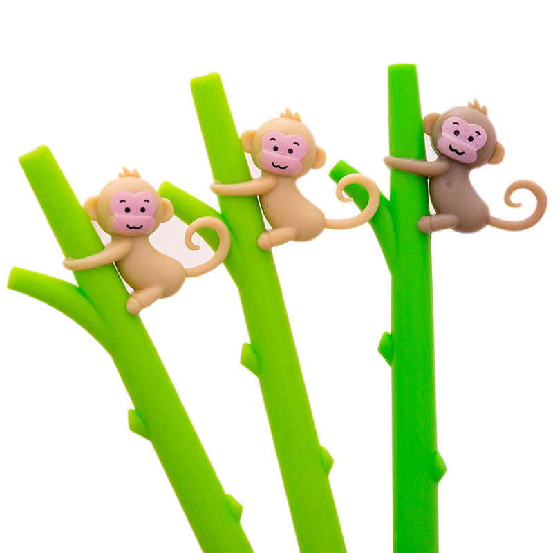 32 pçs/lote Macaco Dos Desenhos Animados Canetas Gel Bonito Neutro Caneta de Bambu 0.5 milímetros de Tinta Preta de Material Escolar Papelaria Escola Escrita Suprimentos