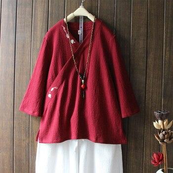 9f3318bda82 Estilo étnico chino oblicua con cuello en V de algodón camisa de lino para  mujer nuevo bordado blusa Vintage para mujer Casual Tops Blusas