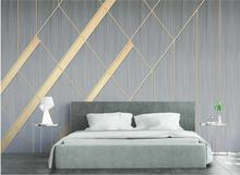 цена на Private custom large wallpaper mural 3D geometric gold line TV bedroom living room wall