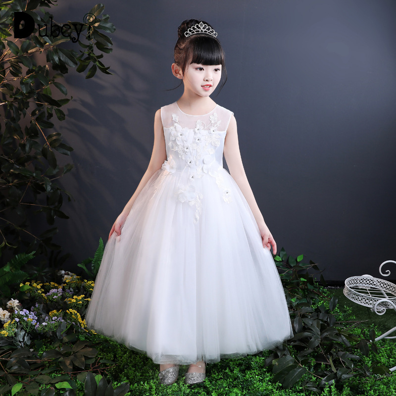 Girls Princess Long Dress Flower Girl Sleeveless Vest Dresses Costumes for Kids Wedding Birthday Party 4-15 Years Old fashion 5 16 years girls princess dress sleeveless flowers children bridesmaid birthday wedding party girl long dresses