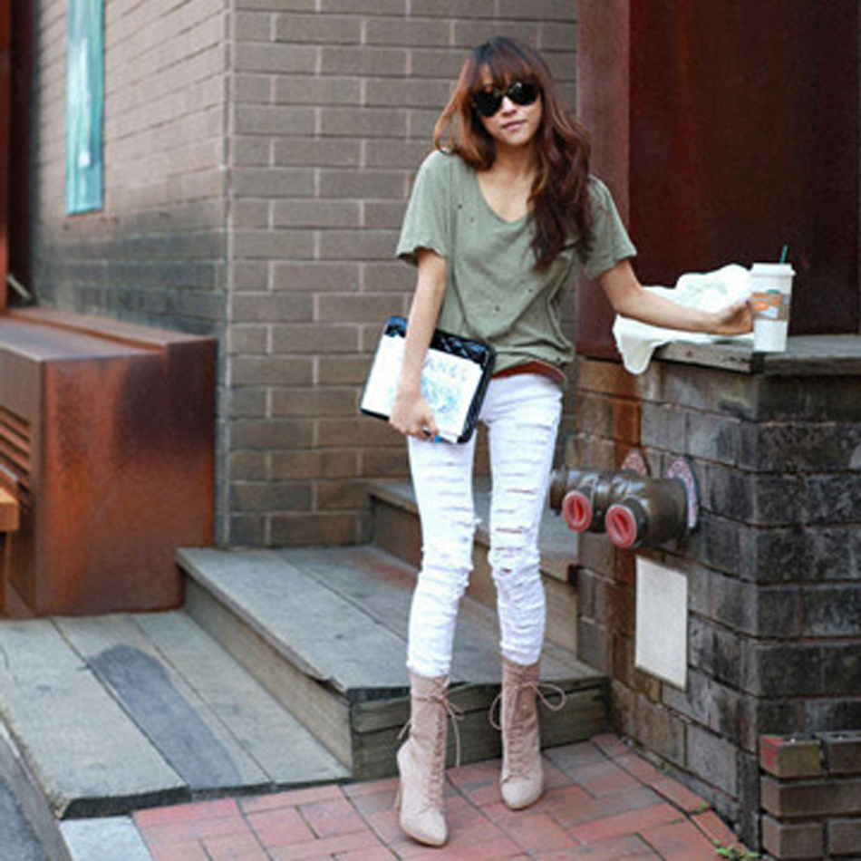2017 Fashion Ripped Jeans Low Waist Skinny Jeans Stretchy Women Pants Trousers Sexy Hole Jeans Woman White Black Pencil Jeans liva girl spring women low waist sexy knee hole skinny jeans brand fashion pencil pants denim trousers plus size ripped jeans