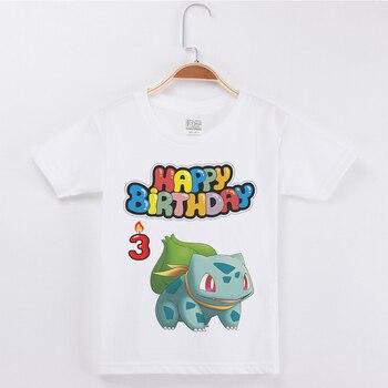 Gran oferta de camisetas de marca de cumpleaños para niños, camisetas a la moda de algodón con cuello redondo y Media manga para niños, Camisetas estampadas de Pokemon para niñas, Camisetas básicas
