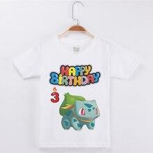 цены Hot Sale Brand Birthday T Shirts Boys Fashion Cotton O-Neck Half Sleeve Child Tees Pokemon Printing Girls T-Shirt Basic Tee Tops