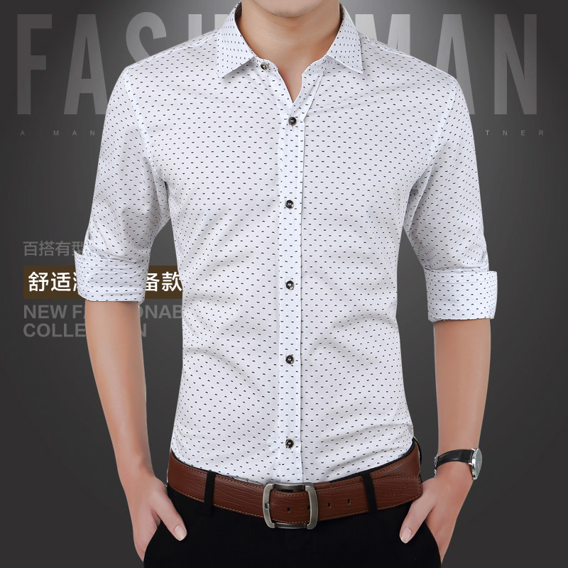 Spring men shirts casual slim fit xpressebuy for Slim fit mens shirts casual