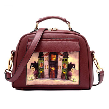 High Quality Oil Picture Pattern Women Bag Fashion PU Leather Handbag Casual Shoulder Female